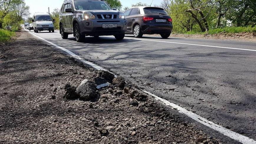 Объезд аварийного участка трассы Симферополь-Севастополь уже рассыпается после ремонта (ФОТО), фото-1