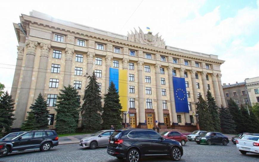На здании ХОГА вывесили огромный флаг Евросоюза (ФОТО), фото-1