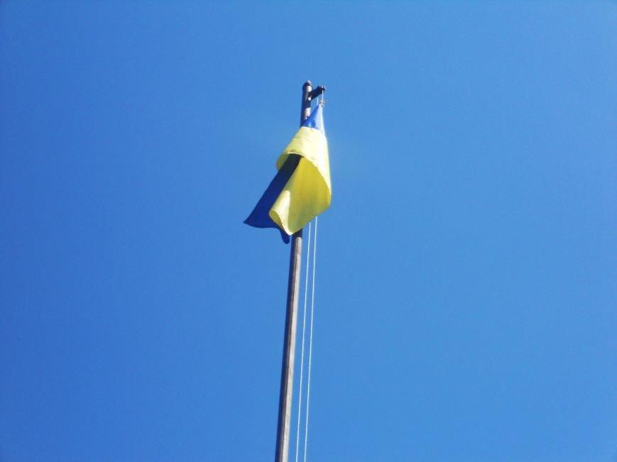 Над Новомосковском подняли флаги ЕС и Украины, фото-6