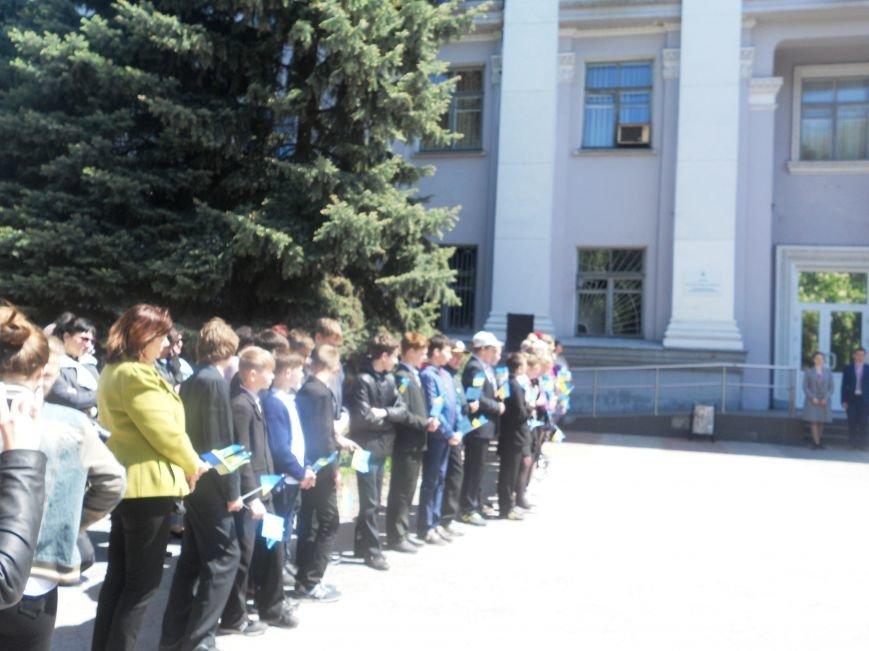 Над Новомосковском подняли флаги ЕС и Украины, фото-4
