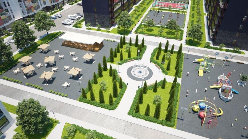 3. Прогулочная зона с фонтаном, игровые детские площадки, кафе жилого городка ARTVILLE