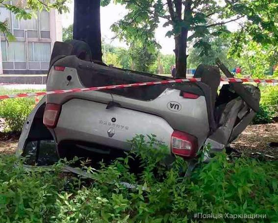 """На Харьковщине """"легковушка"""" врезалась в столб и перевернулась. Погибли двое человек (ФОТО), фото-1"""