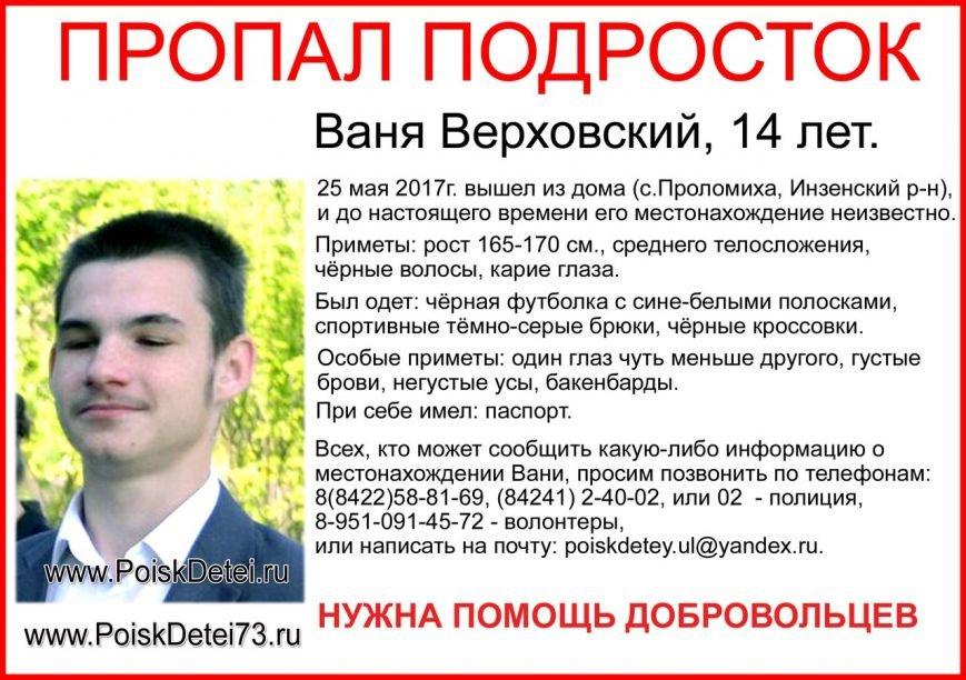 В Ульяновской области 25 мая пропал подросток, фото-1