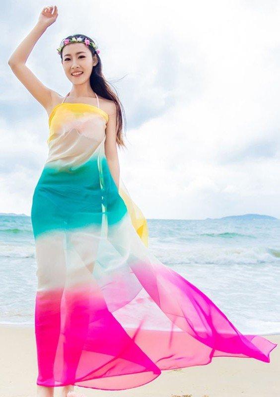 Пляж-Парео-Лето-Женщины-Два-Тона-Шифон-Шали-Шарф-Бикини-Cover-Up-Гавайский-Саронг