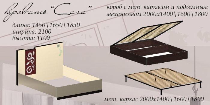 Кровать Сага с основнием под матрац схемы