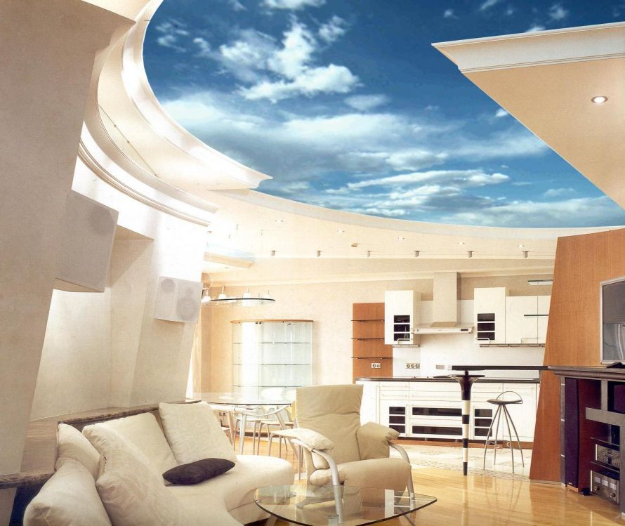 wonderful-blue-sky-high-ceiling-room-idea-in-living-space-as-well-beige-fabric-sofa-plus-triangle-glass-table-on-laminate-floor-including-kitchen-in-the-nearby