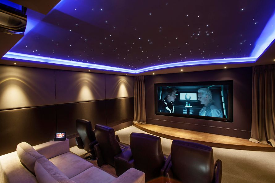 beautiful-attractive-small-home-theater-plan-interior-design-with-opulance-blue-starscape-ceiling-light-and-comfort-octane-storm-of-4-seats-straight-row-in-brown-leather-with-power-recline