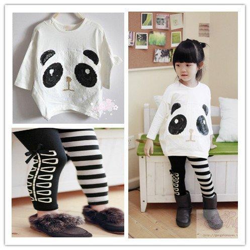 2014New-дети-в-девочка-в-одежда-комплект-Panda-рукава-в-форме-крыла-летучей-мыши-пуловер-пальто